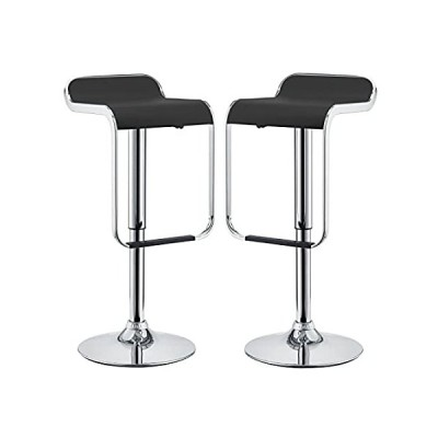 Modway LEM Mid-Century Modern Adjustable Swivel Piston Bar Stool In Black W