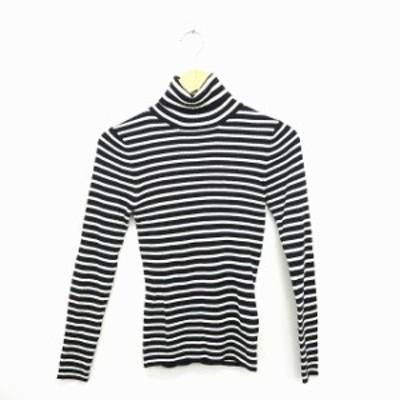 【中古】マウジー moussy ニット セーター ボーダー しましま タートルネック 長袖 1 ブラック ホワイト 黒 白 /MT29