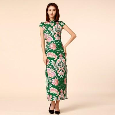 パーティードレス 大きいサイズ ぽっちゃり 送料無料 結婚式 ワンピース 裾スリットのタイトドレス 総柄チャイナドレス ロングドレス 復古風 M/L/2L/3L/4L 9963