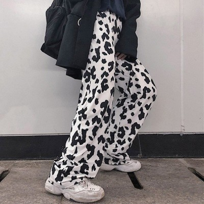 ダルメシアン柄 ワイドパンツ ストレート ボトムス ダンス 衣装 韓国 ヒップホップ レディース