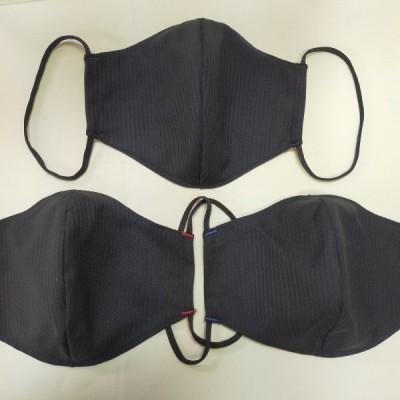 ☆ファッションマスク☆スーツ素材でおしゃれにコーディネート/ポイント刺繍でカスタムオーダー・立体構造で快適なテーラー仕立て/黒*シャドーストライプ