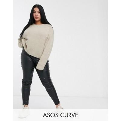 エイソス レディース カジュアルパンツ ボトムス ASOS DESIGN Curve spray on leather look pants