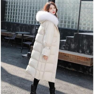 ダウンジャケット レディース 冬服 ダウンコート フード付き ゆったり ロングコート 体型カバー カジュアル 暖かい 厚手 アウター