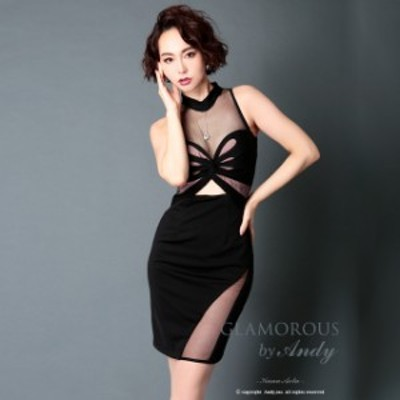 【送料無料】  キャバ ドレス ツイスト デザイン シースルー タイト ミニ ドレス [Andy]   ドレス キャバ キャバドレス 大きいサイズ ド