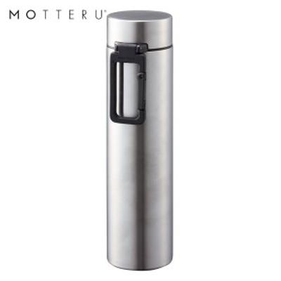 全品P5~10倍 MOTTERU カラビナハンドルサーモステンレスボトル 360ml MO-3005-005 シルバー ゴーウェル 水筒 保冷 保温 2層構造 直飲み