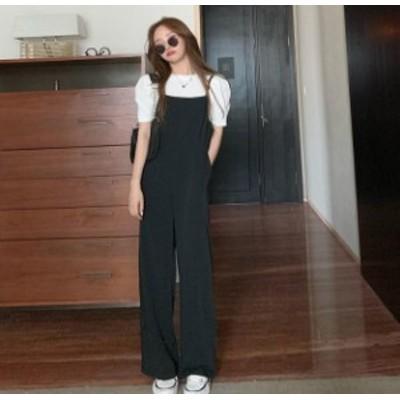 韓国 ファッション レディース オールインワン ワイドパンツ ハイウエスト 無地 ゆったり シンプル カジュアル 大人可愛い 夏