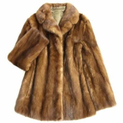 毛並み美品▼1 MINK ミンク 本毛皮コート ブラウン 毛質艶やか・柔らか◎