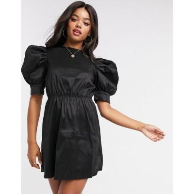 ガールインマインド ミニドレス レディース Girl In Mind sateen puff sleeve mini shift dress in black エイソス ASOS sale ブラック 黒