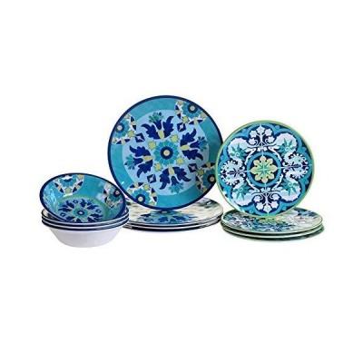 12-Piece Dinnerware Set Blue Green White Floral Casual Round 12 Piece Dishwasher Safe【並行輸入品】