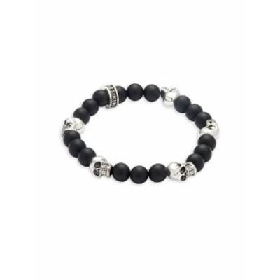 キングベイビースチューディオ メンズ アクセサリー Onyx Skull Bracelet