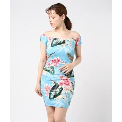 ドレス MAEKO OFF-SHOULDER FLORAL DRESS
