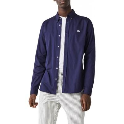 ラコステ LACOSTE メンズ シャツ トップス Regular Fit Solid Button-Down Shirt Navy Blue