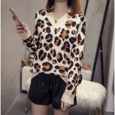 韓国ファッション 大きいの女性用 中くらいの長さ ファッション ヒョウ セーター