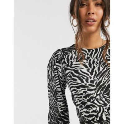 リバーアイランド レディース シャツ トップス River Island zebra print belted blouse in black Black print