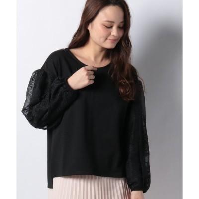 【エイミーパール バイ パウダーシュガー】ポンチ素材ソデ刺繍入りカットソー