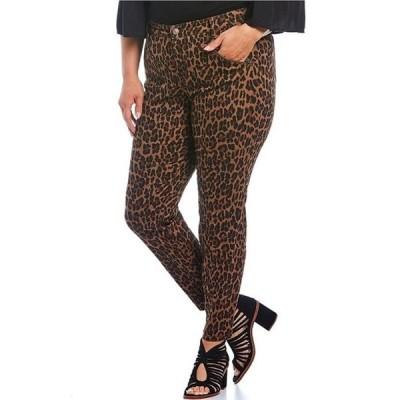 コード ブルー レディース デニムパンツ ボトムス Plus Size Soho Zipper Front Cheetah Print Skinny Jeans