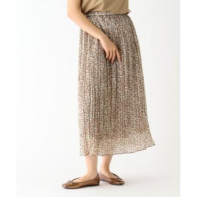 OPAQUE.CLIP / シャイニー割線 レオパードプリント プリーツスカート【イージーケア】 WOMEN スカート > スカート