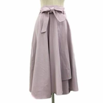 【中古】バビロン BABYLONE スカート フレア ロング ウエストゴム リボンベルト 36 紫 パープル レディース