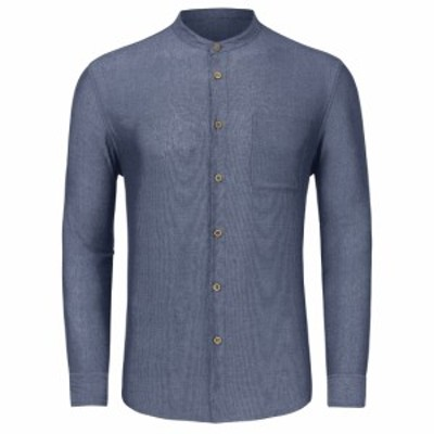 TATT 21 ボタンダウンシャツ コットン 長袖 カジュアル メンズ ネイビー S