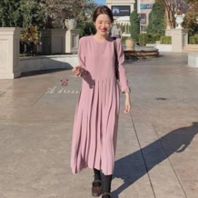2色 プリーツ ワンピース ミモレ丈 長袖 ピンク ブラック フェミニン デート レディース ファッション 韓国 オルチャン