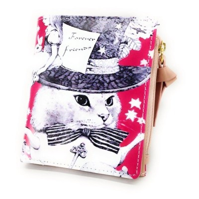財布 二つ折り マジシャン風ネコちゃん 猫 イラスト