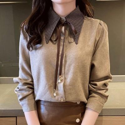シャツ トップス ブラウス 無地 リボン 長袖 きれいめ バイカラー クレリック 通勤 通学 大きいサイズ