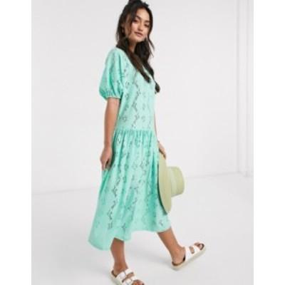 エイソス レディース ワンピース トップス ASOS DESIGN smock midi dress in lace in mint Mint