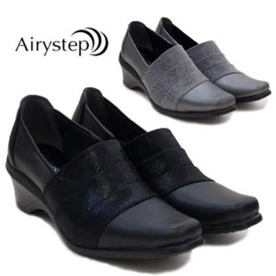 【Airy step】エアリーステップ KA3120 レディース パンプス 痛くない フォーマル ビジネス リクルート 5.5cmヒール 3E 幅広 ワイド 本革