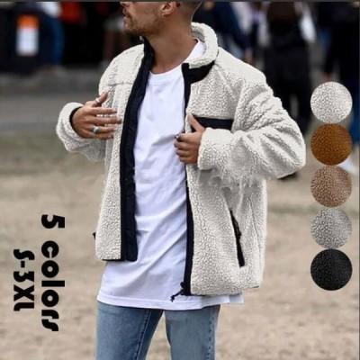 ボアジャケット メンズ フリース ビッグシルエット 切り替えジャケット もこもこ 立ち襟 アウター モコモコ コート パーカー ブルゾン 厚手 秋冬 高品質 暖かい