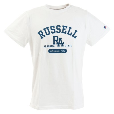 RUSSELLウェアBD Tシャツ RA FLOCK RBM20S0018 WHT 半袖ホワイト