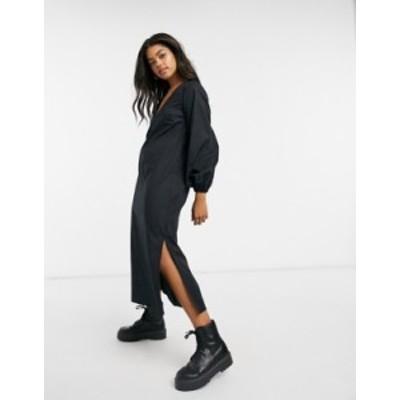 エイソス レディース ワンピース トップス ASOS DESIGN long bubble sleeve midi dress in black Black