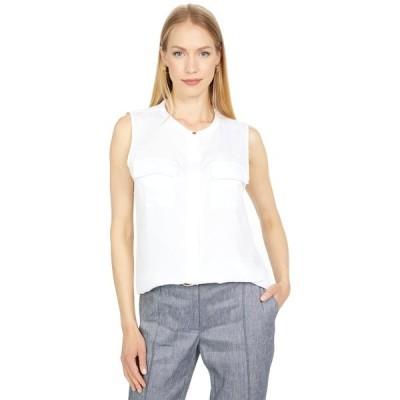 カルバンクライン シャツ トップス レディース Sleeveless Button-Down Top with Pocket Front Detail White