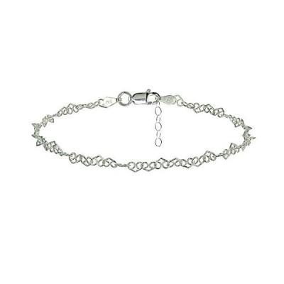 Hoops & Loops Sterling Silver Fancy Heart Link Chain Anklet並行輸入品 送料無料
