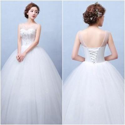 ウエディングドレス 結婚式 ホワイト 花嫁 プリンセス ロングドレス バックオープン ラウンドネック ビスチェ