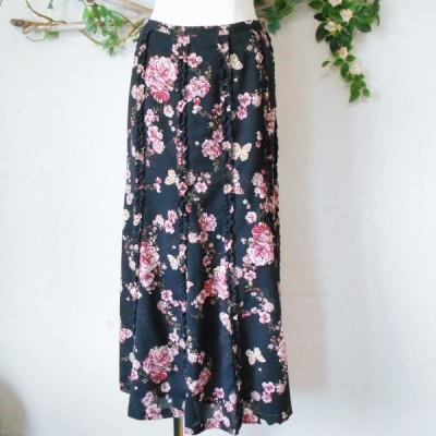 インゲボルグ INGEBORG 縦 フリル 使用 お花 & 蝶々 プリント の 素敵 な スカート 日本製 M