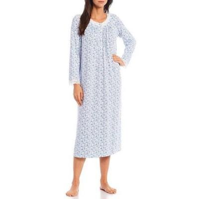 エイレーンウェスト レディース ナイトウェア アンダーウェア Floral Print Jersey Knit Lace Trim Jewel Neck Long Sleeve Ballet Nightgown