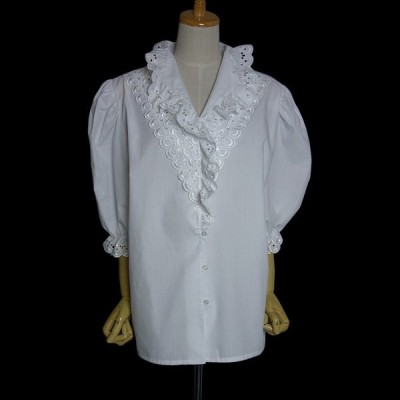 白 ホワイト レースブラウス 半袖 レディース XLサイズ位 ヨーロッパ 古着