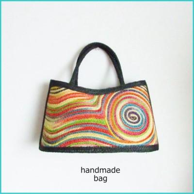 送料無料 サイザル麻のハンドメイドバッグ(ハンドバッグ・天然素材・かごバッグ・カラフル・タイ・