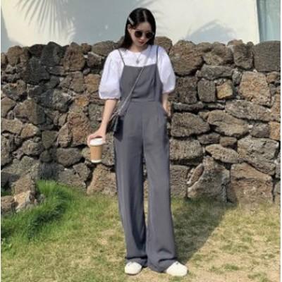 2色 オールインワン ワイドパンツ ルーズ ゆったり シンプル 大人可愛い カジュアル 韓国 オルチャン ファッション