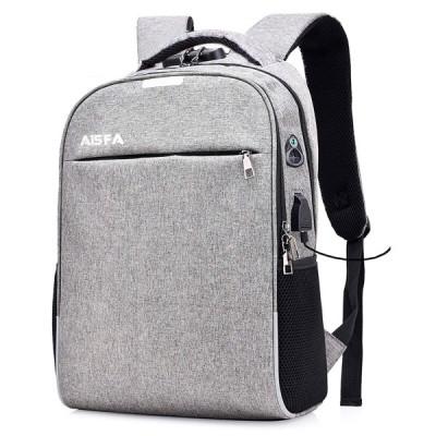 AISFA リュック PC ビジネスバックパック 大容量 ラップトップバック USB充電ポート付き グレー A8202