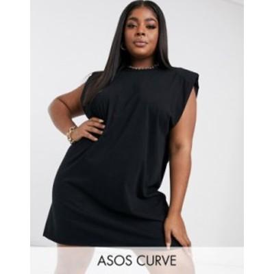エイソス レディース ワンピース トップス ASOS DESIGN Curve padded shoulder sleeveless mini t-shirt dress in black Black