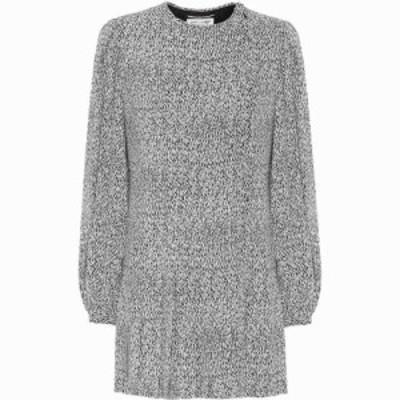 イヴ サンローラン Saint Laurent レディース ワンピース ワンピース・ドレス Printed crepe dress Craie Noir