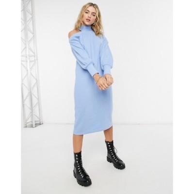 エイソス レディース ワンピース トップス ASOS DESIGN super soft midi dress with cut out shoulder in light blue