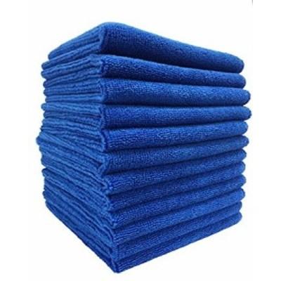 TARO WORKS マイクロファイバー洗車クロス クリーニングタオル 業務用 吸水 速乾 掃除 万能 12枚入 ブルー