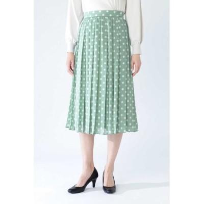 NATURAL BEAUTY/ナチュラルビューティー ◆シフォンドットプリントプリーツスカート ミントグリーン 38