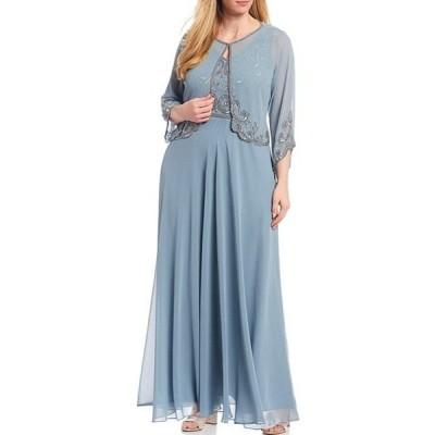ジェーカラ レディース ワンピース トップス Plus Size Beaded Bodice 2-Piece Chiffon Jacket Dress