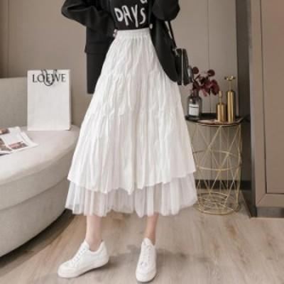【2021春夏】【2カラー F】ふんわりレディな装いを演出するロングチュールスカート♪ フレアスカート ショート丈 ロング丈 ミディー丈