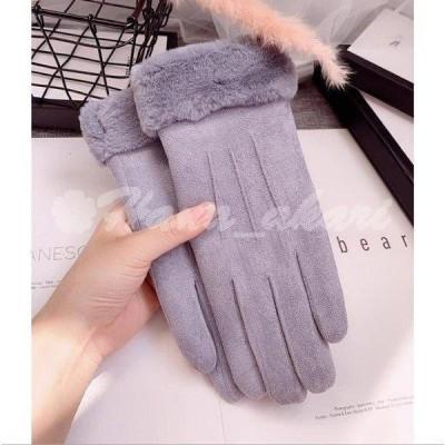 手袋 レディース スマホ対応 防寒 暖かい グローブ 裏起毛 内側 防風 リボン ふんわり かわいい  上品 手元すっきり おしゃれ