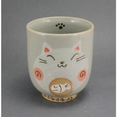 湯呑 瀬戸焼 手書き しっぽ猫 長湯呑(赤) 貫入土