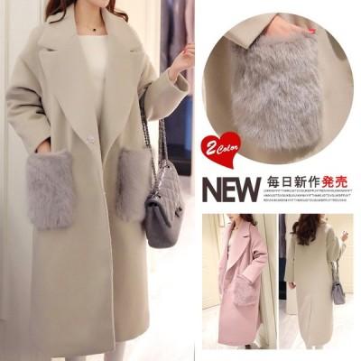 送料無料ファーポケットコート チェスターコート 体型カバーできる柔らかコートかわいい 秋冬九分袖華やか◆ ファーアイテム ファー付け シャギー 軽く暖